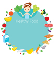 Cute girl and useful food object icons round frame vector image vector image