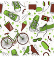 cute teenager pattern in green and brown palette vector image vector image
