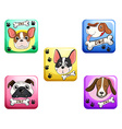 Dog on square badges vector image vector image
