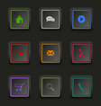 Flat color web buttons square on a dark background vector image vector image