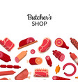 flat meat and sausages icons background vector image vector image