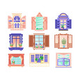 flat set of colorful window frames flowers vector image