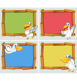 Frame design with pelican bird vector image vector image