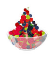 Fresh berries in cup berry set in cartoon style