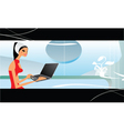 girl with laptop vector image vector image