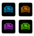 glowing neon hydrogen car icon isolated on white vector image vector image