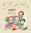 group of cute girls celebrating birthday vector image vector image