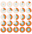 group of doughnut chart diagram collection vector image