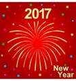 Happy New Year 2017 text and fireworks vector image