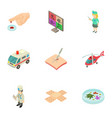 help of doctor icons set isometric style vector image vector image