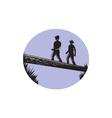 Hikers Crossing Single Log Bridge Oval Woodcut vector image vector image