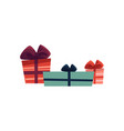 holiday present gift boxes pile vector image vector image