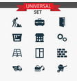 industry icons set with gear color can excavator vector image vector image
