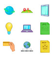 info business icons set cartoon style vector image vector image