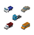 isometric transport set of freight autobus auto vector image vector image