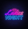 ladies night neon sign night party design vector image vector image
