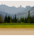 landscape road coniferous forest mountains vector image vector image