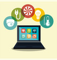 laptop controlling smarthome technology vector image vector image