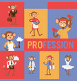 monkey like people profession character vector image vector image
