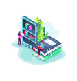 online library concept in 3d isometric vector image vector image