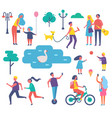 park people activities set vector image vector image