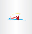people in water swimming children on beach vector image vector image