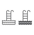 pool line and glyph icon sport and swim ladder vector image vector image