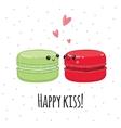 Postcard Happy kiss Lovers macaroon vector image vector image