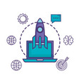 rocket launcher with laptop and business icons vector image vector image