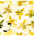 seamless geometric pattern with bee modern vector image