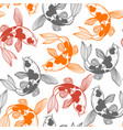 seamless pattern with karp koi in hand drawn style vector image