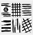 set 6 printable cards with black brush stroke vector image