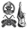 set different musical instruments emblems vector image