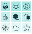 set of 9 eco icons includes delete woods fire vector image vector image