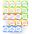 set of colorful abstract seamless sale stickers vector image vector image