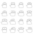 set of outlines of kettles vector image vector image