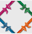 set of realistic colorful satin bows and ribbons vector image vector image