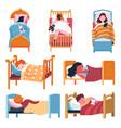 sleeping children at home or kindergarten vector image vector image