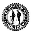 summer holiday rubber stamp with tourists vector image vector image