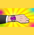 summer time hand watch comic text pop art vector image vector image