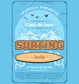 surfing sport club retro poster sea and surfboard vector image vector image