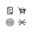 targeting loan percent and checklist icons vector image vector image