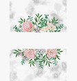 template with pink flowers on white marble vector image vector image