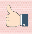 thumbs up like icon for social networking pop art vector image vector image