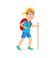 tourist boy hipster funny cartoon character a vector image