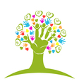 Tree hands hearts and figures logo vector image