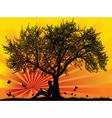 under the tree vector image vector image