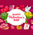 valentines day love holiday hearts and flowers vector image vector image