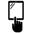 Vertical tablet with hand icon vector image vector image