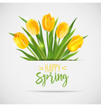 Vintage Spring Card - with Yellow Tulips Flowers vector image vector image